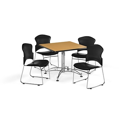 OFM 36 Square Laminate Multi-Purpose Table with 4 Chairs, Oak Table/Black Chairs (PKG-BRK-058-0020)