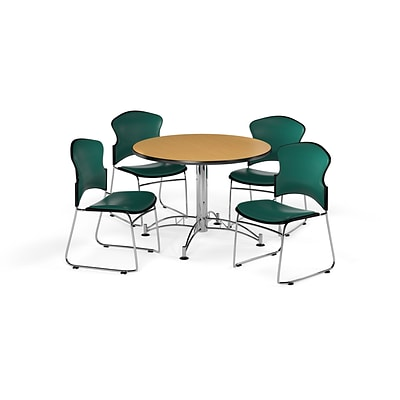 OFM 42 Round Laminate Multi-Purpose Table with Four Chairs, Oak Table/Teal Chair (PKG-BRK-059-0016)