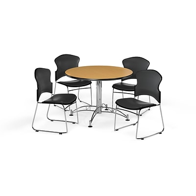 OFM 42 Round Laminate MultiPurpose Table w/Four Chairs, Oak Table/Charcoal Chair (PKGBRK0590018)