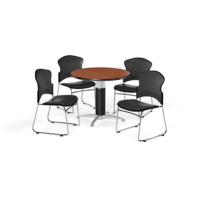 OFM 36 Round Laminate MultiPurpose MeshBase Table w/4 Chairs, Cherry/Charcoal Chairs