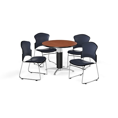 OFM 42 Round Laminate MultiPurpose MeshBase Table w/4 Chairs, Cherry/Navy Chairs (PKGBRK0630004)