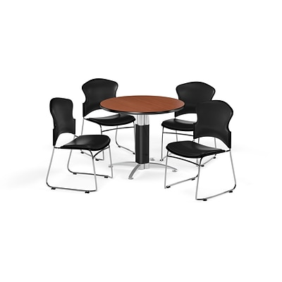 OFM 36 Round Laminate MultiPurpose MeshBase Table w/Four Chairs, Cherry/Black Chair (PKGBRK0610005)