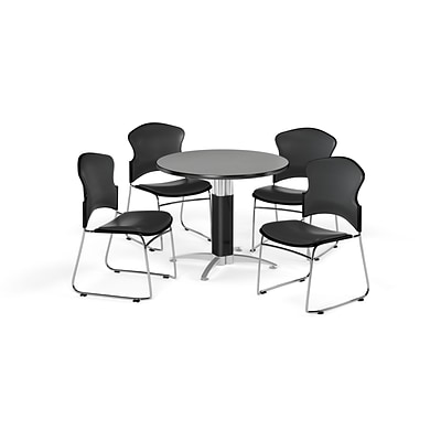 OFM 36 Round Laminate MultiPurpose MeshBase Table w/Four Chairs, Gray Nebula/Charcoal Chair