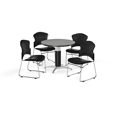 OFM 36 Round Laminate MultiPurpose MeshBase Table w/Four Chairs, Gray Nebula/Black Chair