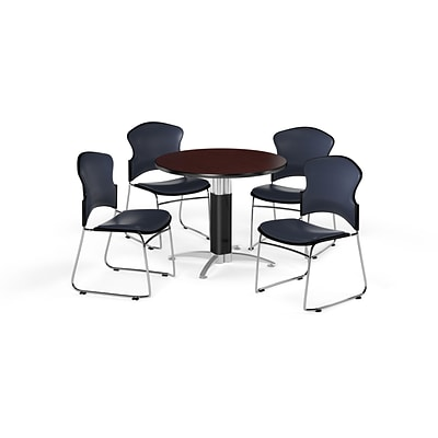 OFM 42 Round Laminate MultiPurpose MeshBase Table w/4 Chairs, Mahogany/Navy Chairs (PKGBRK0630014)