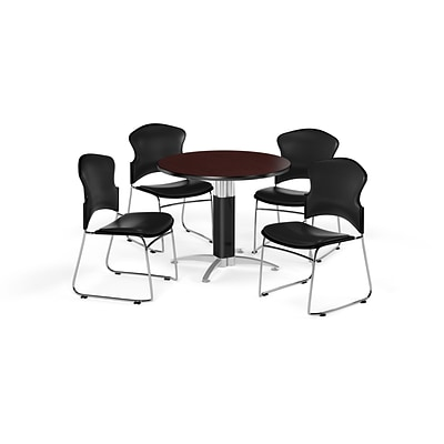OFM 36 Round Laminate MultiPurpose MeshBase Table w/4 Chairs, Mahogany/Black Chairs (PKGBRK0610015)
