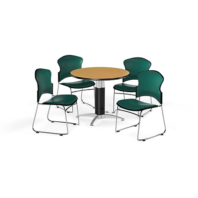 OFM 42 Round Laminate MultiPurpose Mesh-Base Table w/Four Chairs, Oak/Teal Chair (PKG-BRK-063-0016)