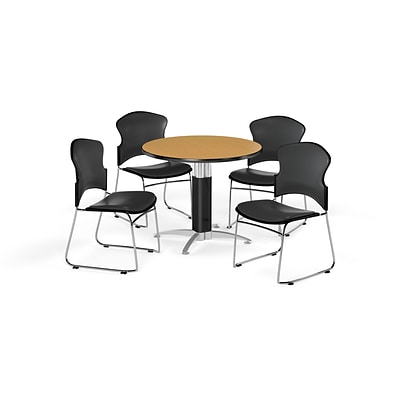 OFM 36 Round Laminate MultiPurpose MeshBase Table w/4 Chairs, Oak/Charcoal Chairs (PKGBRK0610018)