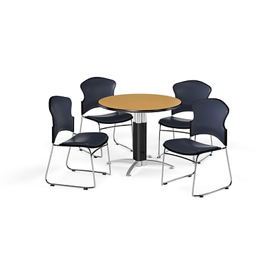 OFM 36 Round Laminate MultiPurpose Mesh-Base Table w/Four Chairs, Oak/Navy Chair (PKG-BRK-061-0019)