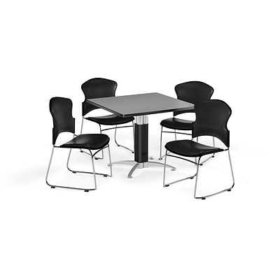OFM 36 Square Laminate MultiPurpose MeshBase Table w/4 Chairs, Gray Nebula/Black Chairs (845123059852)