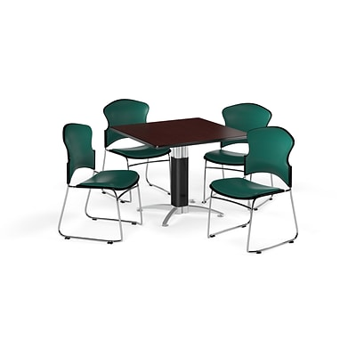 OFM 42 Square Laminate MultiPurpose MeshBase Table w/Four Chairs, Mahogany/Teal Chair