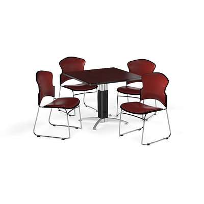 OFM 36 Square Laminate MultiPurpose MeshBase Table w/4 Chairs, Mahogany/Wine Chairs (PKGBRK0620012)