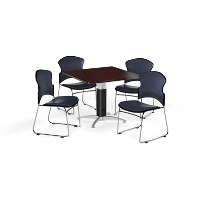 OFM 42 Square Laminate MultiPurpose MeshBase Table w/4 Chairs, Mahogany/Navy Chairs (PKGBRK0640014)