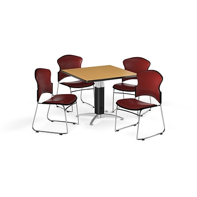 OFM 42 Square Laminate Multi-Purpose Mesh-Base Table w/4 Chairs, Oak/Wine Chairs (PKG-BRK-064-0017)