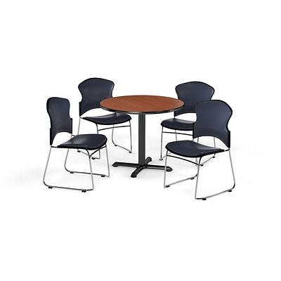 OFM 42 Round Laminate MultiPurpose X-Series Table w/4 Chairs, Cherry/Navy Chairs (PKG-BRK-067-0004)