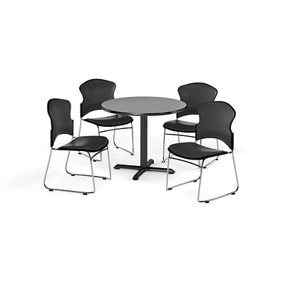 OFM 42 Round Laminate MultiPurpose X-Series Table w/4 Chairs, Gray Nebula/Charcoal Chairs