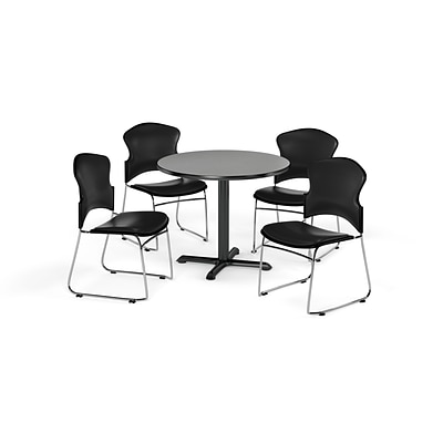 OFM 42 Round Laminate MultiPurpose X-Series Table w/Four Chairs, Gray Nebula/Black Chair (845123060858)