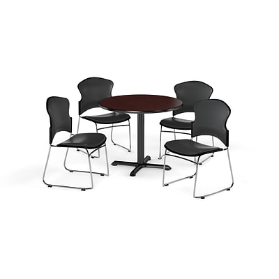 OFM 42 Round Laminate MultiPurpose X-Series Table w/Four Chairs, Mahogany/Charcoal Chair
