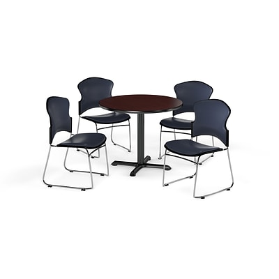 OFM 36 Round Laminate MultiPurpose XSeries Table w/4 Chairs, Mahogany/Navy Chairs (PKGBRK0650014)