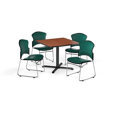 OFM 36 Square Laminate MultiPurpose XSeries Table w/4 Chairs, Cherry/Teal Chairs (PKGBRK0660001)