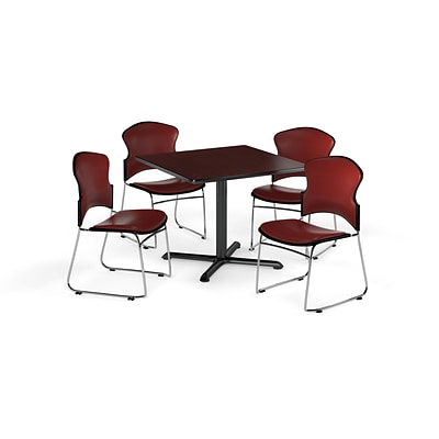 OFM 42 Square Laminate MultiPurpose X-Series Table w/Four Chairs, Mahogany/Wine Chair (845123061077)
