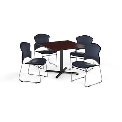 OFM 42 Square Laminate MultiPurpose XSeries Table w/4 Chairs, Mahogany/Navy Chairs (PKGBRK0680014)