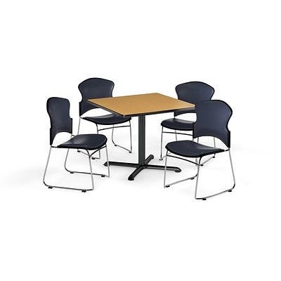 OFM 36 Square Laminate MultiPurpose XSeries Table w/4 Chairs, Oak Table/Navy Chairs (PKGBRK0660019)