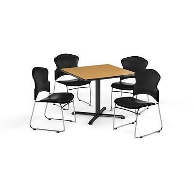 OFM 42 Square Laminate Multi-Purpose X-Series Table w/4 Chairs, Oak/Black Chairs (PKG-BRK-068-0020)