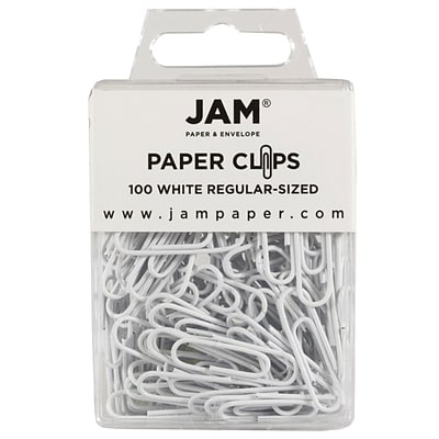 JAM Paper® Vinyl Colored Standard Paper Clips, Small, White, 100/Pack (2183755)