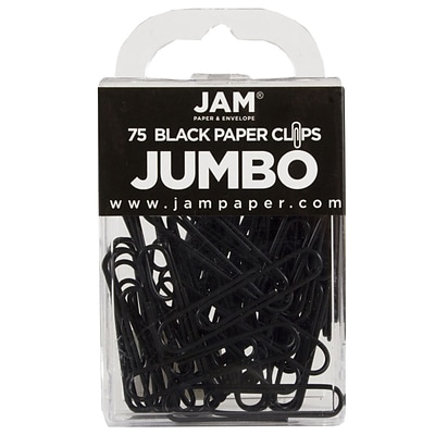 JAM Paper® Vinyl Colored Jumbo Paper Clips, Large, Black, 75/Pack (2184933)