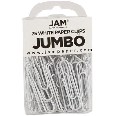 JAM Paper® Vinyl Colored Jumbo Paper Clips, Large, White, 75/Pack (2184934)
