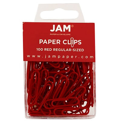 JAM Paper® Vinyl Colored Standard Paper Clips, Small, Red, 100/Pack (2185200)