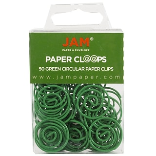 JAM Paper® Vinyl Circular Colored Papercloops, Round Paper Clips, Green, 50/Pack (2187135)