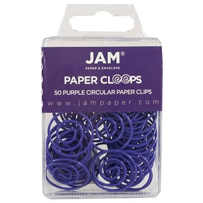 JAM Paper® Vinyl Circular Colored Papercloops, Purple Round Paper Clips, 50/Pack (2187137)