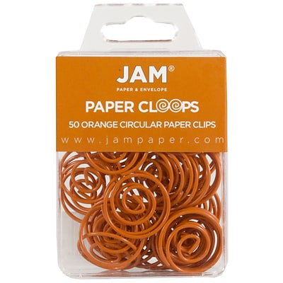 JAM Paper® Vinyl Circular Colored Papercloops, Round Paper Clips, Orange, 50/Pack (21827540)