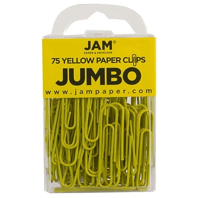 JAM Paper® Vinyl Colored Jumbo Paper Clips, Large, Yellow, 75/Pack (42182236)