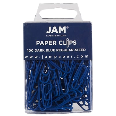 JAM Paper® Vinyl Colored Standard Paper Clips, Small, Dark Blue, 100/Pack (42186868)