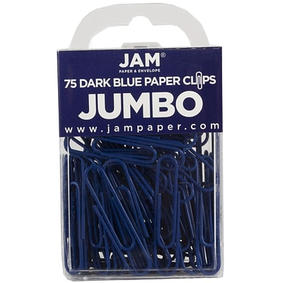 JAM Paper® Vinyl Colored Jumbo Paper Clips, Large, Dark Blue, 75/Pack (42186869)