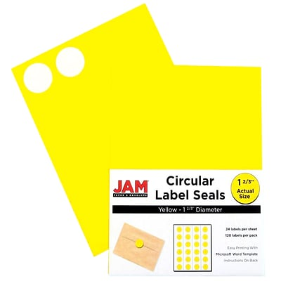 JAM Paper® Round Circle Label Sticker Seals, 1 2/3 inch diameter, Yellow, 120/pack (147627067)