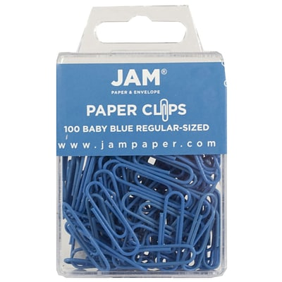 JAM Paper® Vinyl Colored Standard Paper Clips, Small, Baby Blue, 100/Pack (221819033)