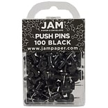 JAM Paper® Push Pins, Black Pushpins, 100/Pack (222419046)