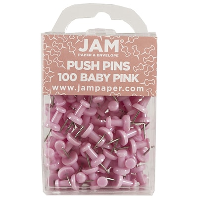 JAM Paper® Push Pins, Baby Pink Pushpins, 100/Pack (222419048)