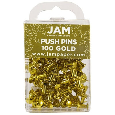 JAM Paper® Push Pins, Shiny Gold Pushpins, 100/Pack (222419051)