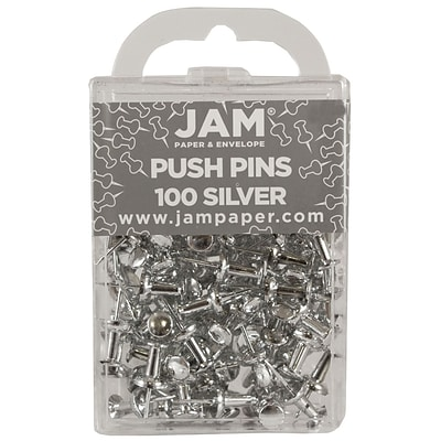 JAM Paper® Push Pins, Shiny Silver Pushpins, 100/Pack (222419054)