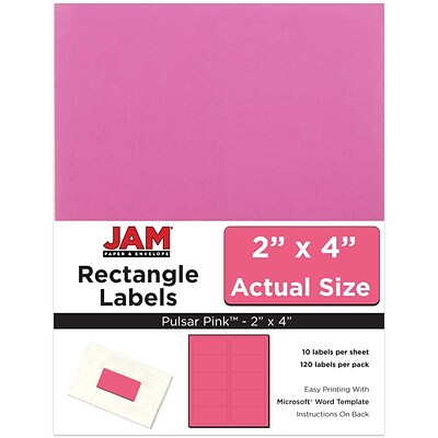 JAM Paper® Mailing Address Labels, 2 x 4, Ultra Pink, 120/pack (302725797)