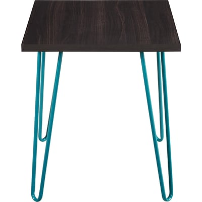 Altra™ Owen Retro End Table, Espresso with Teal Metal Legs (5068096PCOM)