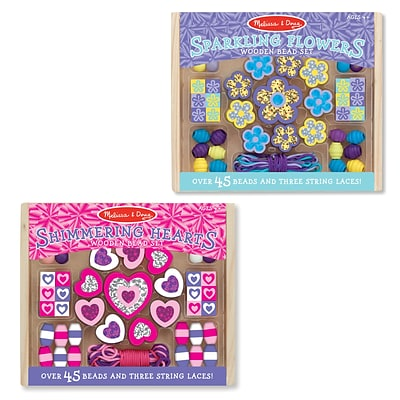 Melissa & Doug M&D Flowers & Hearts Small Bead Set Bundle, 6 x 5 x 1.8, (8255)