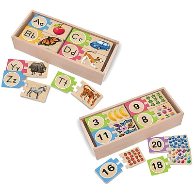 Melissa & Doug Self-Correcting Letters and Numbers Puzzle Bundle,12.75 x 5.75 x 5.5, (8956)