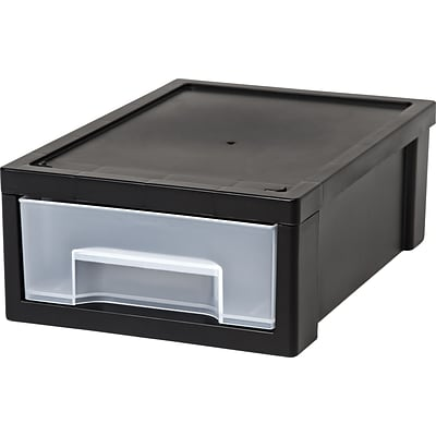 Small Desktop Drawer; Black/Clear