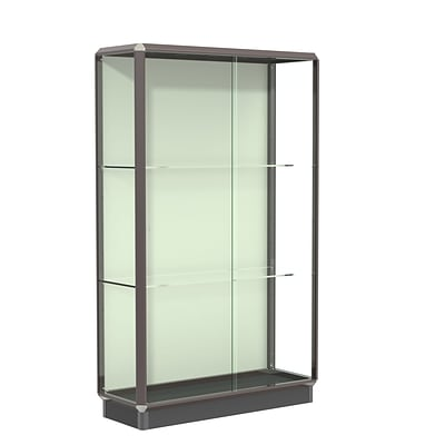 Waddell Prominence 48W x 78H x 18D Lighted Floor Case, Plaque Back, Dk. Bronze Finish
